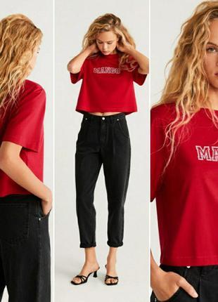 Укороченная футболка mango, топ оверсайз, размер s-m