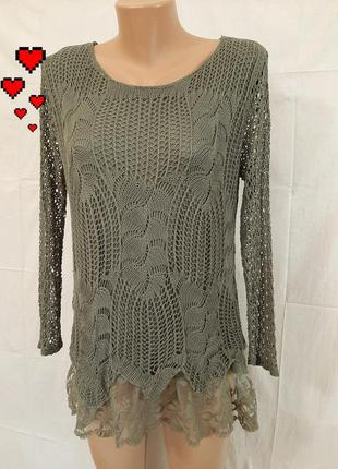 Тренд итальянский вязаный джемпер блуза кофта