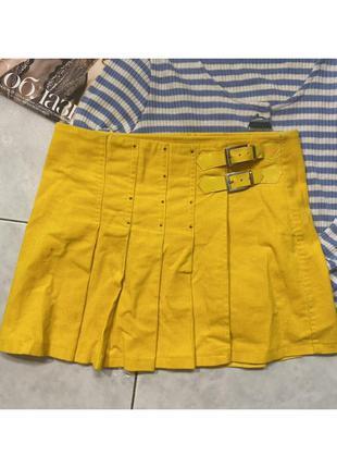 Топ яркая крутая юбка на запах теннисная желтая яркая мини