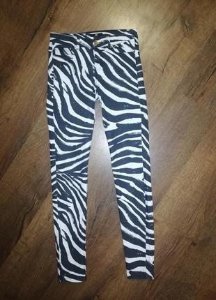 Джинсы, повседневные стрейчевые штаны, принт зебра