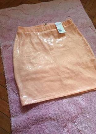 Персиковая юбка h&m с пайетками