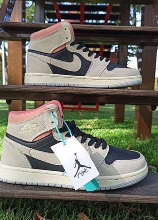 Женские кроссовки nike air jordan 1 high черный с бежевым/розовым