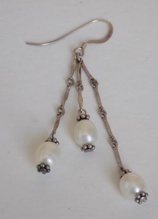 Новые сережки с природными жемчужинами пресноводный жемчуг серебро 925