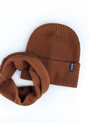 Шапка кирпичная из хлопковой пряжи осень 🍂 комплект набор шапка хомут снуд