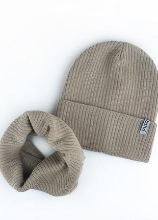 Шапка бежевая из хлопковой пряжи осень 🍂 комплект набор шапка хомут снуд