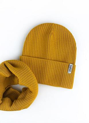 Шапка горчица из хлопковой пряжи осень 🍂 комплект набор шапка хомут снуд