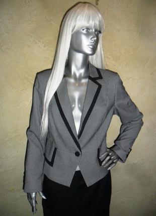 Стильный офисный черно-белый пиджак жакет блейзер m&s xxl 16