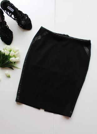 """Элегантная классическая юбка с завышенной талией и """"кожаными"""" деталями"""