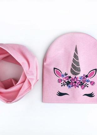 Набор шапка и хомут весна осень единорог
