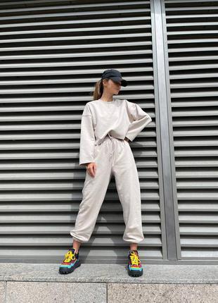 🌸 спортивный костюм женский осенний оверсайз батал широкий качественный турецкий яркий светлый темный новый бежевый джоггеры худи штаны теплый размер