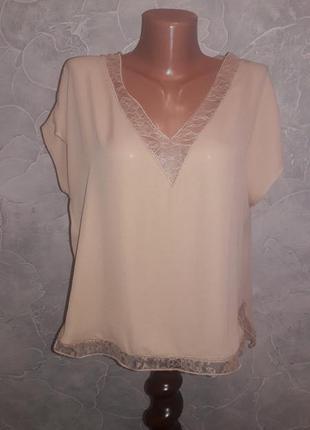 Блуза беж нюдового цвета декор кружево