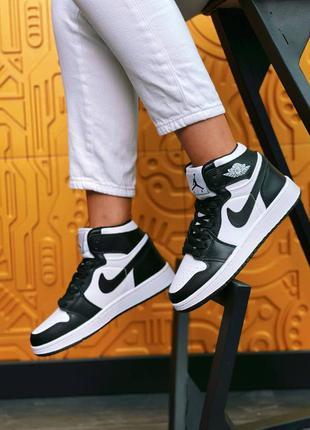 Nike air jordan   high black white кроссовки найк аир джордан наложенный платёж купить