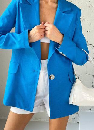 Пиджак льняной синий жакет новый блейзер