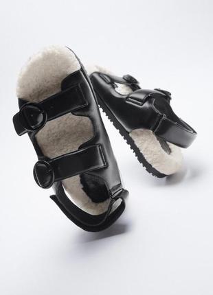 Босоножки на меху, грубые сандали, шлёпки