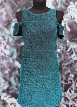 Красивое блестящее изумрудное платье topshop