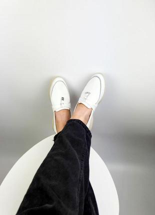 Лоферы туфли натуральная кожа белые білі жіночі туфлі лофери