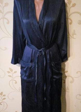 100% натуральный шелк . шикарный длинный шелковый халат от c&a . большой размер.