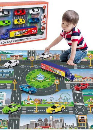 Детский игровой коврик с машинками