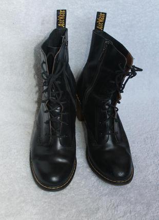 Брендовые кожаные ботинки на устойчивом каблуке  от dr.martens, размер 42
