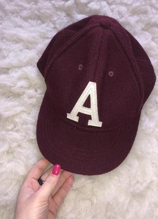 Шерстяная кепка бейсболка тёплая с буковой шерсть марсала бордовый