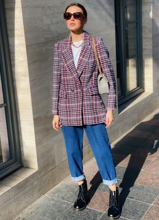 Пиджак из тёплой пальтовой ткани в клетку на подкладке
