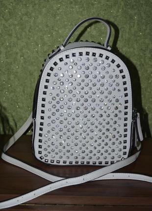 Рюкзак молодежный городской экокожа белая с камушками