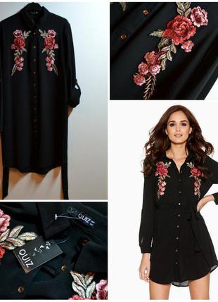 Хит!модное черное платье-рубашка с вышивкой и поясом
