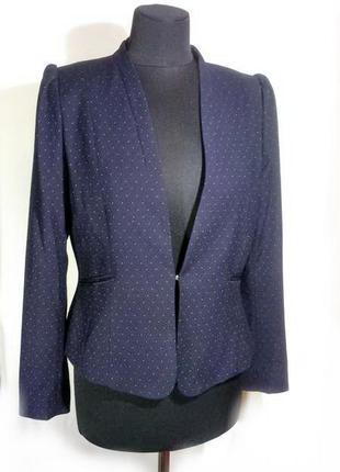 Пиджак из вискозы темно-синий в горох р 40-42