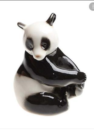 Лфз! 1970-е годы! статуэтка панда сидящая медведь бамбуковый винтаж советский ссср фарфор ломоносовский подглазурная роспись