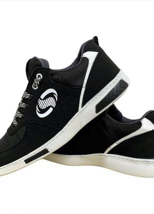 Кроссовки мужские черные на белой подошве (ск-3-1)