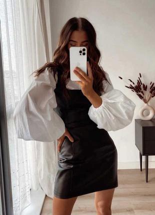 Костюм рубашка и кожаный сарафан
