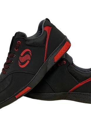 Кроссовки мужские черные на красной подошве (ск-3-2кр)
