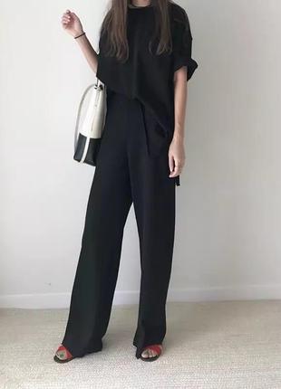 Черный костюм женский штаны кофта набор прогулочный трикотажный костюм женский