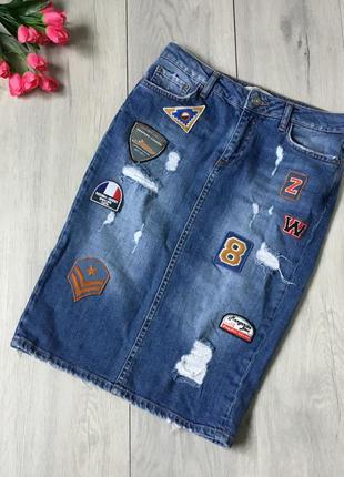 Фирменная джинсовая юбка миди zara, размер s