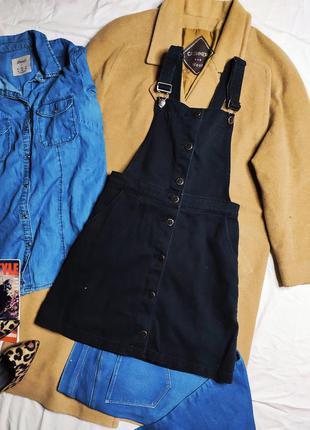 H&m сарафан джинсовый на бретельках на пуговицах с карманами чёрный