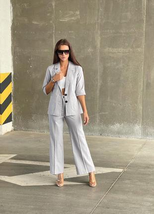 Женский костюм брюки пиджак женский летний костюм классика