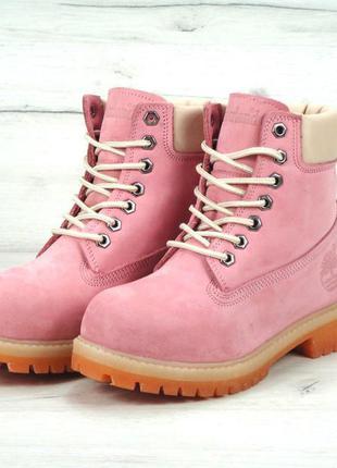 Яркие зимние розовые ботинки timberland натуральный мех 39,41 рр
