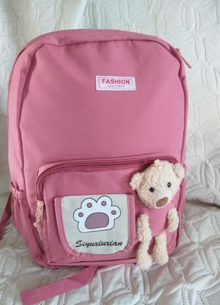 Рюкзак в однотонной расцветке розовый  pink для девочки школьные
