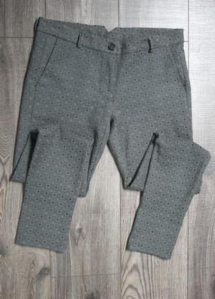 Стильные серо-мятные брюки скинни чиносы - s/m
