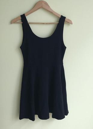 Чёрное плотное хлопковое платье topshop,p.l