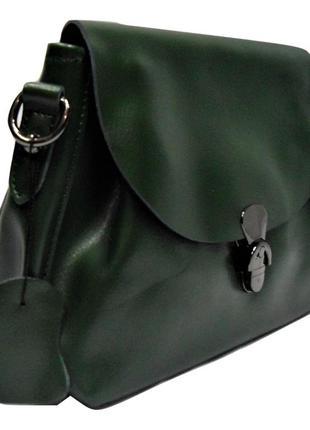 Оригинальная женская сумочка из натуральной кожи зеленого цвета gаr-070255