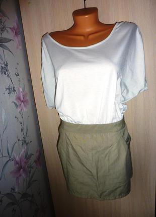 Легкое платье ml&nh, размер l (40), цвет молочный+беж.