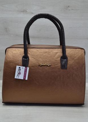 Бронзовая сумка саквояж с коричневыми змеиными вставками