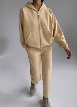 Спортивный прогулочный костюм кофта на молнии с карманами и капюшоном штаны с карманами вол
