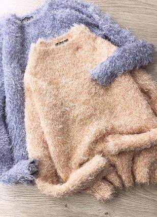 Зефирный персиковый свитер-пушистик / травка