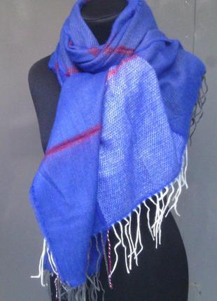 Теплый палантин шаль шарф плед синий электрик двухсторонний в наличии