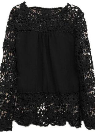 Блуза с кружевом черная