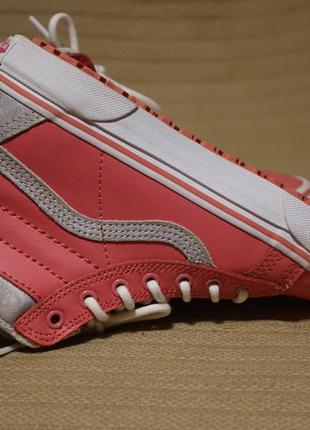 Комбинированные розово-серебристые высокие кожаные кеды vans 34 1/2 р.