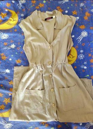 Платье сарафан  миди на пуговицах с карманами