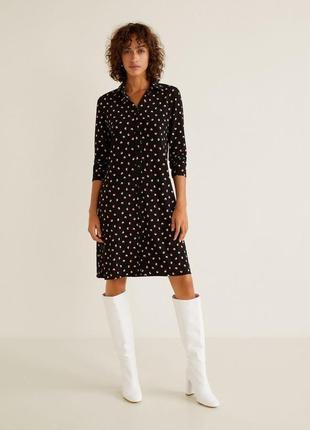 Платье рубашка базовое mango стильное миди